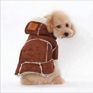 Adorable Pet Faux Suede Lined Coat -Camel Color